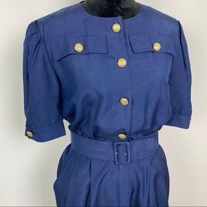 Vintage Silk Dress Maggie London Blue Shirt Midi